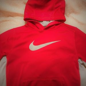 Nike Sweatshirt Red & Grey Hoodi Therma-fit Size L